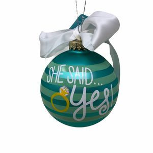 Coton Colors Just Engaged Ring Glass Ornament
